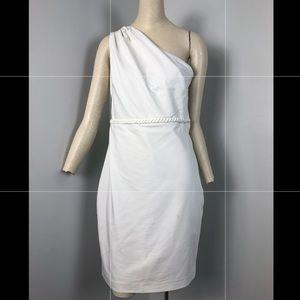Belle Badgley Mischka White Dress One Shoulder 8
